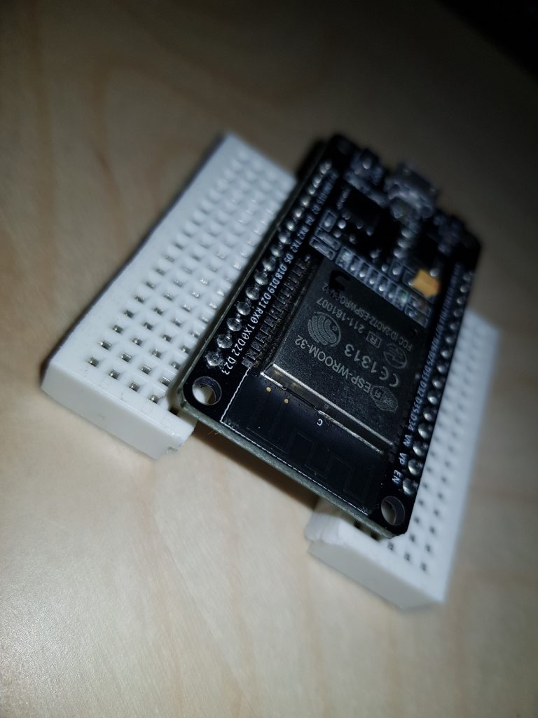 ESP32 Dev Board on split breadboard