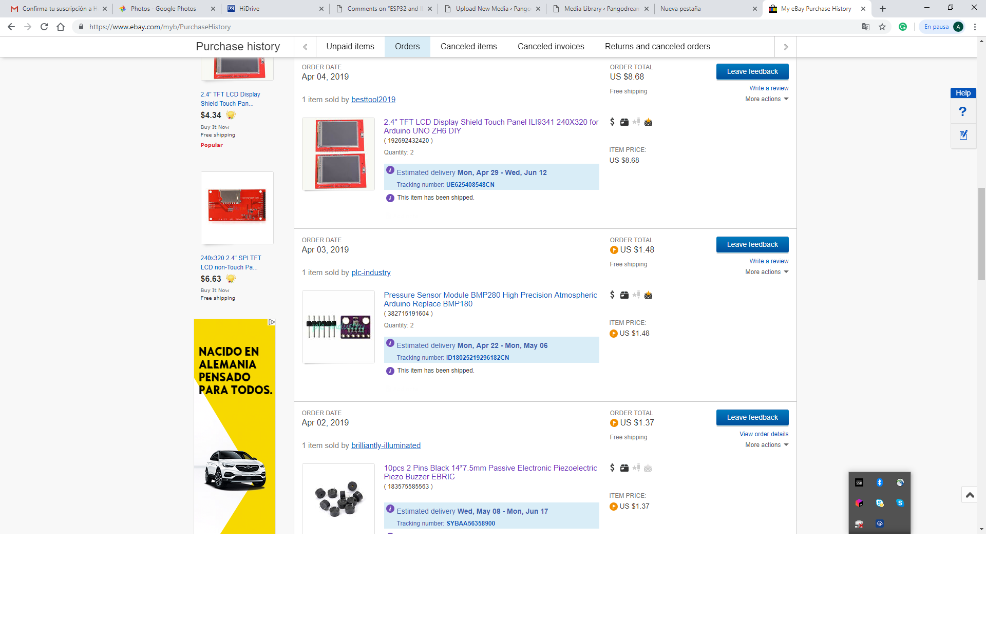 Ebay orders screenshot