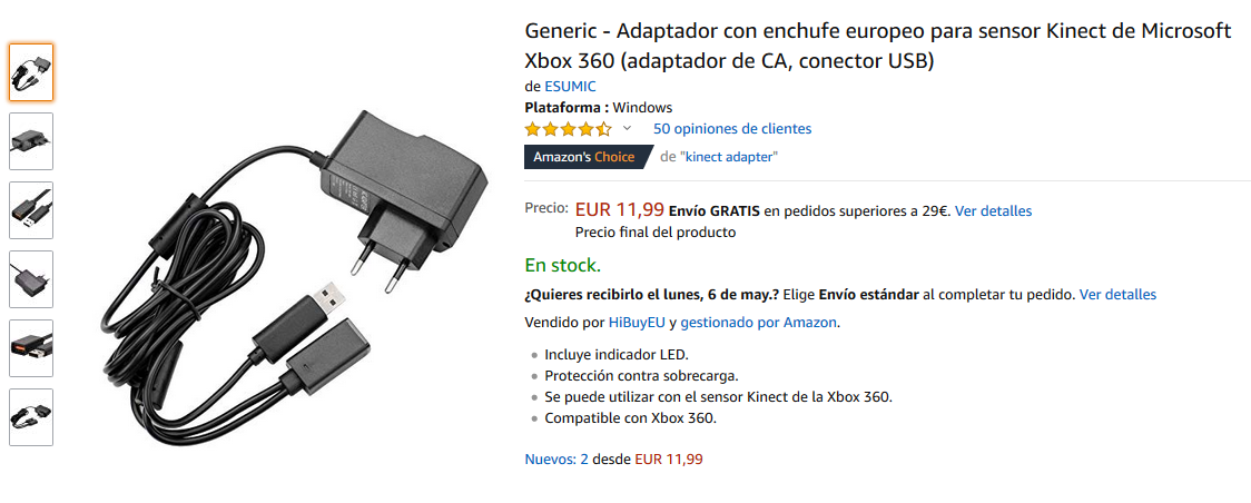 Kinect adapter for PC